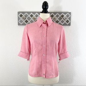 Ted Baker Button Down Top Pink Semi-Sheer, Size 1